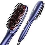 Straightening Brush for Thick Hair, FURIDEN Hot Brush Hair Straightener, Double Ionic Hair Straightener Brush, Hair Straightener Brush for Black Women, Cepillo Alisador de Cabello