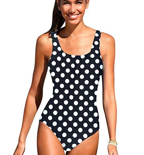 Bañador Vientre Plano Bandeau Traje de Baño Mujer Una Pieza Mujer Playa Natacion Bikinis con Relleno para Gorditas Monokini Bikini Señora Trajes de Baño Enteros Deportivo Punto Negro M