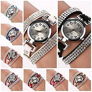 Relojes de Hombre Womens Round Dial Diamante Circuit Band Quartz Watch (Assorted Color) C&d184