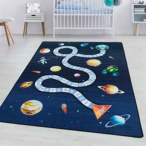SIMPEX Tapis à Poils Courts Tapis de Enfants Jeu Espace Planète Rocket Bleu, Couleur:Marine, Taille:80x120 cm