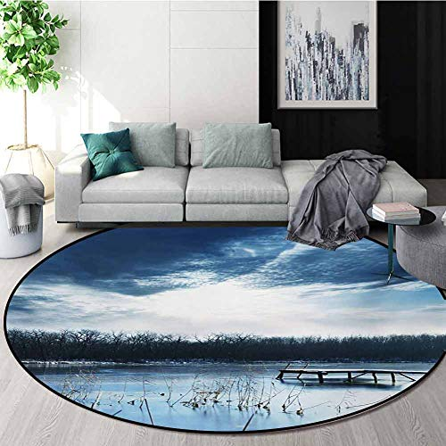 Why Choose RUGSMAT Winter Modern Machine Round Bath Mat,Landscape Scenery of Mountain Lake with A Fr...