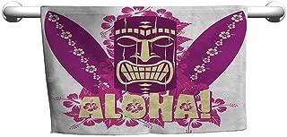 DIMICA Sports Towel Tiki Bar Tiki Culture Figure Surfboards Hibiscus Hand Drawn Aloha Art Custom Bath Towel 39 x 10 inch Hot Pink Purple Pale Yellow