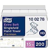 Tork extra weiche Zickzack Papierhandtücher Premium 100278 - H3 Falthandtücher für Zickzack Papierhandtuchspender - besonders saugfähig, 2-lagig, weiß - 15 x 200 Tücher