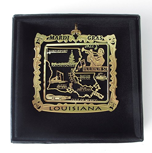 Louisiana Ornament State Souvenir Brass Black Leatherette Gift Box