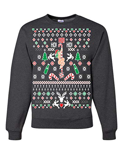 Wild Bobby Ho Ho Ho Funny Offensive Stripper Alcohol Xmas | Mens Ugly Christmas Sweater Crewneck Graphic Sweatshirt, Heather Black, Small