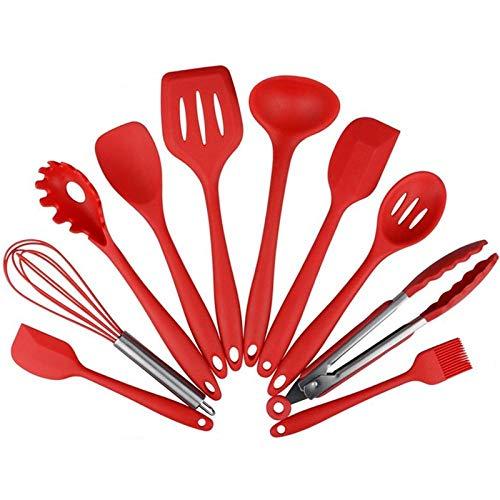 Ustensiles De Cuisine Silicone,Spatule en silicone antiadhésive, résistant aux hautes températures, ne fait pas mal au pot, cuillère, cuisson en silic
