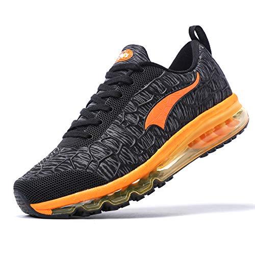ONEMIX Laufschuhe Herren Damen Luftkissen Sportschuhe Atmungsaktive Straßenlaufschuhe Turnschuhe im Freien 1156 Black Orange 42