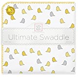 SwaddleDesigns Ultimate Winter Swaddle, X-Large Receiving Blanket, Made in USA, Premium Cotton Flannel, Yellow Jewel Tone Little Chickies (Mom's Choice Award Winner)
