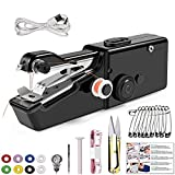 Handheld Sewing Machine Will Queen Portable Mini Electric Sewing Machine For Fabric Home Travel 28 Piece Set (Black) (Black)