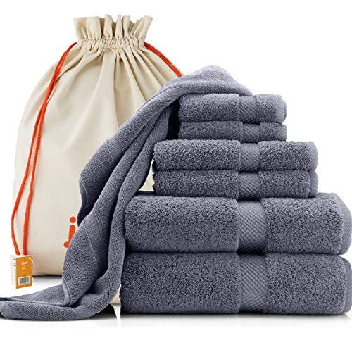 joluzzy Luxury 7-Pic Gray Towel Set & Floor Mat - 100% Long-Staple Turkish Cotton - High Absorbent 700 GSM - Soft & Plush - Hotel Quality - 2 Bath Towels, 2 Hand Towels, 2 Face Towels, 1 Floor Mat,