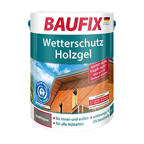 BAUFIX Wetterschutz-Holzgel, Holzlasur graphitgrau, 5 Liter, tropfgehemmte Holzschutzlasur für innen und außen, atmungsaktiv, für alle Holzarten, UV-beständig, witterungsbeständig
