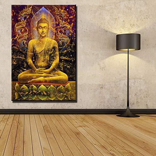HllhPC (Nessuna fotolijst) Het moderne gouden canvas van Boeddha schilderij op canvas, muurschildering, muurschildering, muurkunst voor woonkamer, canvas, voor slaapkamer