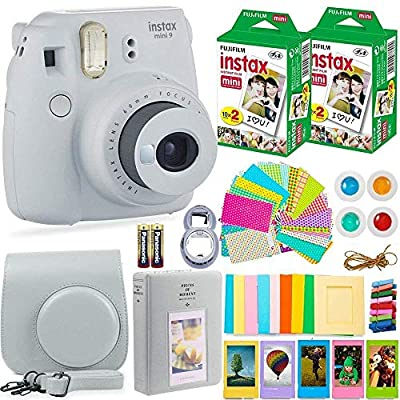 Fujifilm Instax Mini 9 Instant Camera + Fuji Instax Film (40 Sheets) + Batteries + Accessories Bundle - Carrying Case, Color Filters, Photo Album, Stickers, Selfie Lens + More (Smoky White) by FUJIFILM