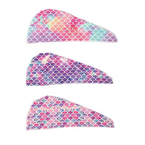 Smilsiny - Gorro de ducha, 3 unidades, para mujeres y niñas, superabsorbentes, antiencrespamiento, secado rápido (B)