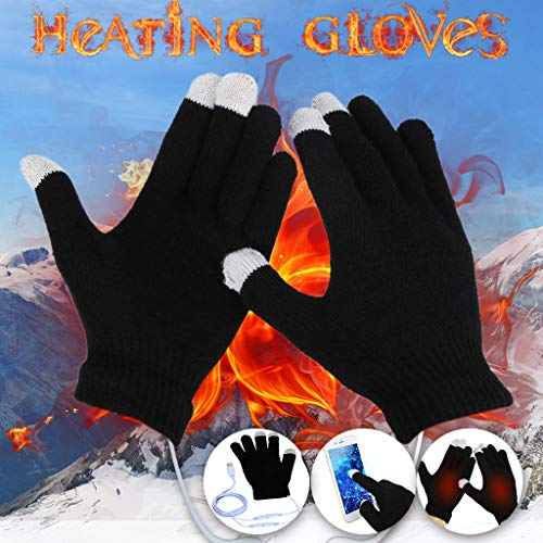 Haluoo USB Heated Gloves, Unisex Womens Men Winter USB Powered Knitting Heated Laptop Gloves Heating Touch Screen Full Finger Hands Warmer Mitten, Best Winter Gift Choice (Black)