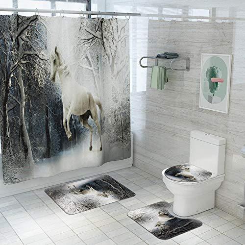 Vlejoy Wasserdichter duschvorhang mit Animal-Print, Bad, rutschfeste u-förmige polsterung, saugfähiger Teppich 4-TLG