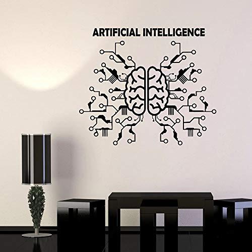 Etiqueta de la pared de la inteligencia artificial Etiqueta engomada del vinilo de la computadora de la red neuronal del cerebro Etiqueta de la pared de la empresa de tecnología otro color 42x36cm