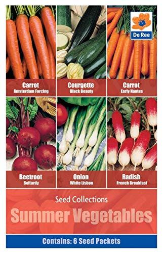 Portal Cool Sommer-Gemüse-Samen - 6 in 1 Packung Karotte Früh Zucchini Rote-Bete-Zwiebel