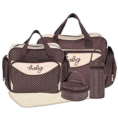 HALOVIE Wickelrucksäcke 5-teilige verstellbare Umhängetasche mit Griffen Multifunktions-Wickeltasche mit großer Kapazität Babyflaschen-Reisetasche mit vielen Taschen