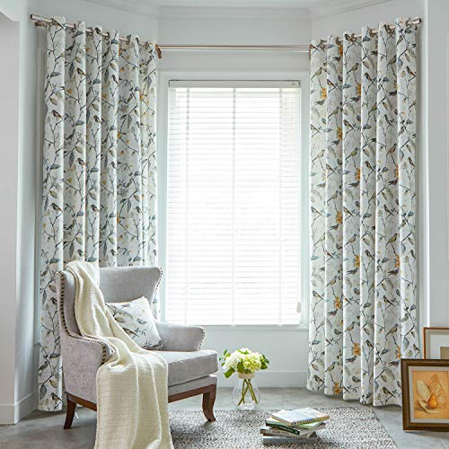VOGOL Birds and Floral Printed Grommet Curtains Retro Style Room Darkening Window Drapes for Living Room Bedroom, 52x84, Gray