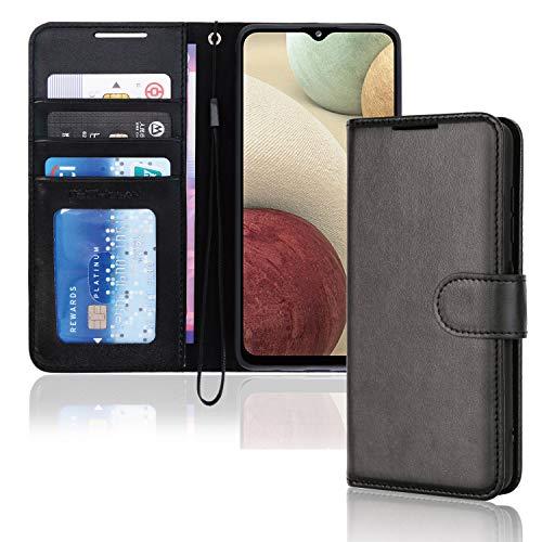 TECHGEAR Funda de piel tipo cartera para Samsung Galaxy A12, con tapa, tarjetero y correa para la muñeca, piel sintética negra con cierre magnético, diseñada para Samsung Galaxy A12