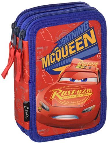 Disney Cars Saetta McQueen - Astuccio Triplo, 3 Scomparti, Pennarelli, Pastelli, Accessori Scuola 42 pezzi, Poliestere, Multicolore