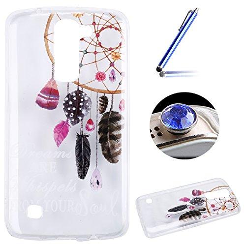 LG K7 Coque, Etsue pour LG K7 Vogue Gel Housse étui de téléphone mobile ,TPU Silicone Matériau Transparente Ultra Mince Supérieur Semi Transparent Doux Coque [Campanule] Motif pour LG K7 + Gratuit 1 x Bleu stylet + 1 x Bling poussière plug (couleurs aléatoires)