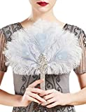 Coucoland - Ramo de flores para boda, novia, dama de honor, años 20, abanico de plumas Beige Azul Claro – Estilo 7 Talla única