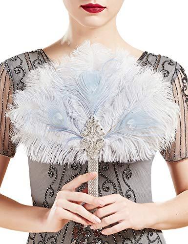potente para casa Kukoland-Ramos de boda, novias, damas de honor, años 20, alas de abanico beige azul …