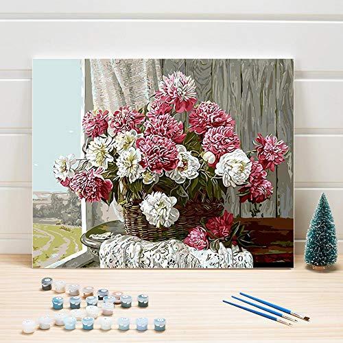 JieXi Mi binbin Färbung nach Zahlen Pflanze Blumen Acrylbild nach Zahlen Malen Ölgemälde auf Leinwand Wandkunst Für Wohnzimmer Erwachsene Zeichnung 40x50cm-Kein Rahmen