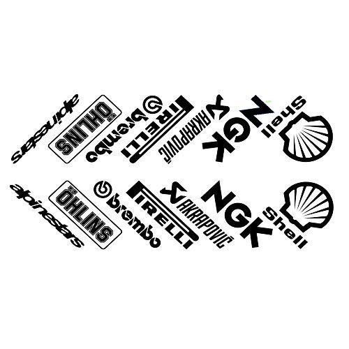 ! Motorrad-Aufkleber für Bauchnabelpfannen, 14 Stück, Schwarz