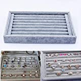 Yosoo Ring Velvet Jewellery Display Box Cufflinks Storage Tray Case Holder Organizer (Grey)