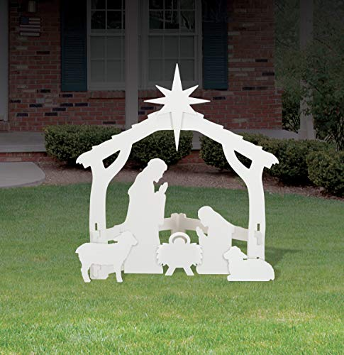 Front Yard Originals White Silhouette Outdoor Nativity Scene