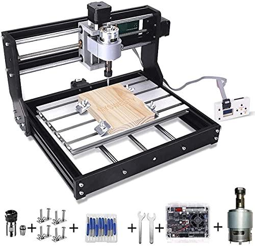 NYCUABT Mejora Bricolaje Mini CNC Máquina, 3 Ejes Tarjeta DE Circuito Impreso Fresadora, Grabador de enrutadores de Madera con Controlador Fuera de línea, con Barra de extensión ER11 y 5 mm