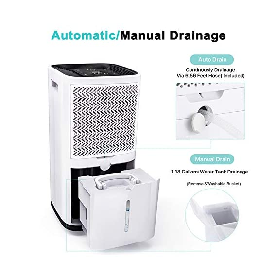 Kesnos 70 pint dehumidifiers for spaces up to 4500 sq ft at home and basements pd253d,white 6 kesnos dehumidifier for spaces up to 4500 sq ft - our dehumidifier removes up to 70 pint (50 pint new doe 2019) of moisture per 24 hours, fit for medium to large rooms in areas up to 4, 500 sq. Ft. And is able to adjust humidity from 30% to 85%, you can maintain a healthy 45%-55% humidity range easily! A dehumidifier perfect for home, basements, office, bathroom, bedroom, kitchen, stockroom, living room, laundry room, cellars, crawlspace by removing humidity. Unique design for the modern home - the kesnos dehumidifiers designed with sleek and modern look. With 360° easy-roll hidden wheels and ergonomically recessed handles, you can move around this dehumidifier easily. It is quiet operation that won't disturb you when you sleep or at work and adjustable fan speeds for multiple choices. With dry clothes function, you simply place the dehumidifier in a room where you can hang the wet clothes and let it dry clothes naturally. Easy to use dehumidifiers - simply adjust to your ideal moisture setting, then let it run its continuous 24-hour cycle until the tank is full, at which point it will automatically shut-off. 2 drainage options for your draining choices: auto drain: the with included 6. 56 feet drain hose for continuously auto-drain your dehumidifier without emptying the water bucket. Manual drain: the 1. 18 gallons water tank and bucket full indicator lets you know when the water bucket needs to be emptied.