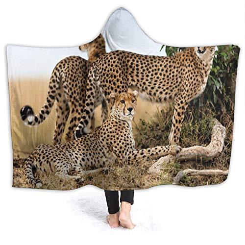 HARXISE Tragbare Hoodie Decke,Gepardenmutter und Zwei ältere Jungen,Masai Mara,Kenia,Umhang Druck Grafik warm für den Winter 50x40
