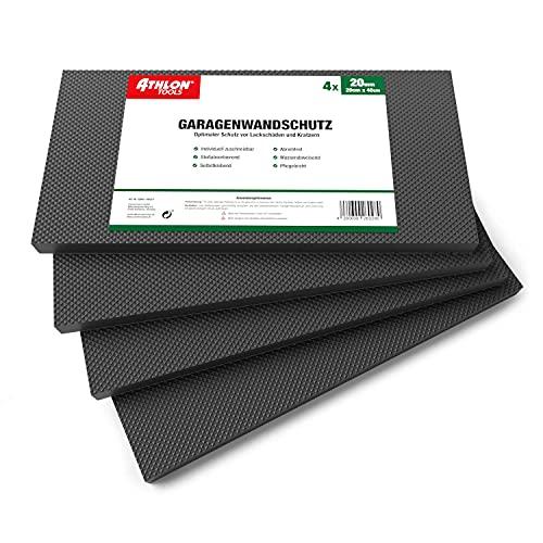 ATHLON TOOLS 4x MaxProtect Protectores de pared autoadhesivos para garaje, protección contra impactos (40 x 20 x 2cm, cada uno) (Negro)