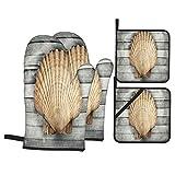 Juego de 4 Guantes y Porta ollas para Horno Resistentes al Calor Composición Marina Abstracta Gran Vieira Madera para Hornear en la Cocina,microondas,Barbacoa