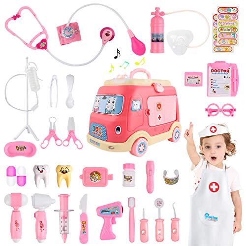 JoyGrow 33 Piezas Maletin Medicos Doctora Juguete,Caja de Almacenamiento de Ambulancia,Doctora Disfraz Juego de rol,de Imitacion Luces y Sonidos Accesorios,Regalos para Niñas Niños 3+ Años (Rosa)