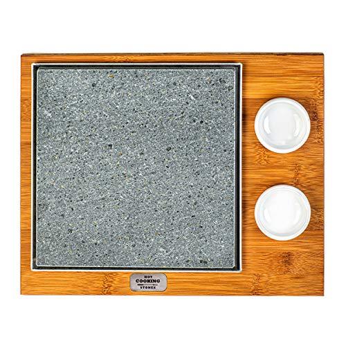 Lavasteinplatte BASIC 20 x 20 quadratisch mit Schüsseln geeignet zum Kochen direkt auf dem Tisch