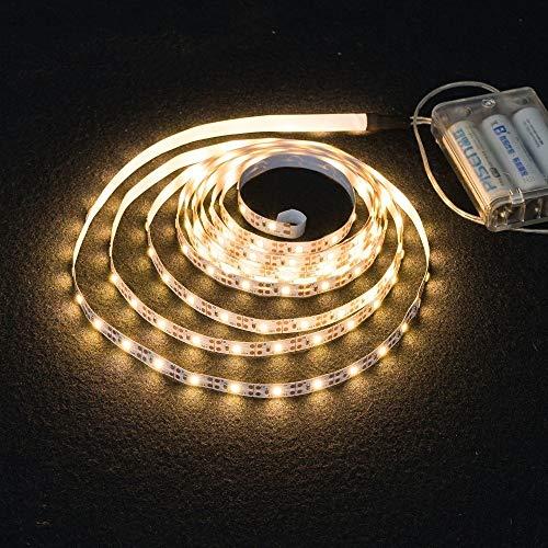 Tira de luz LED SMD2835 de 3 AA, 50 cm, 1 m, 2 m, 3 m, 4 m, 5 m, cinta de iluminación flexible, color blanco cálido y blanco (emisión de color: blanco cálido)