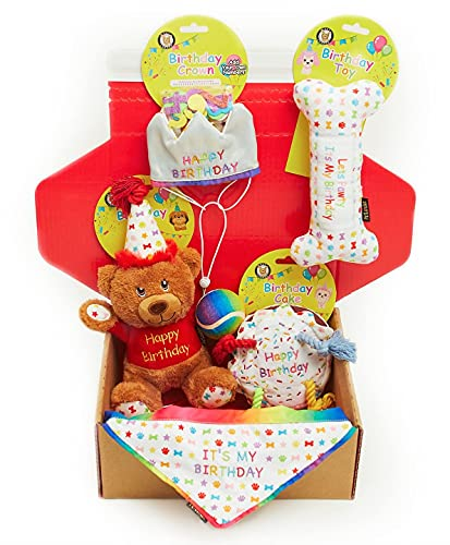 Dog Birthday Gift Box 6-Piece Hamper Present set, Perfect Dogs Happy Bday Celebration, includes Toys, Hat and Bandana (Small)