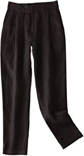 Women's Cropped Tapered Pants 100% Linen Front Pleated with Button Closure Elastic Waist Trousers