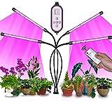 Lámpara de Plantas 80 Leds Lámpara de Cultivo Lámpara de Crecimiento 4 Cabezales Espectro Completo Grow Light para Plantas de Interior con Temporizador 4/8/12H y 3 Modos de Luz (Controlador Guales)