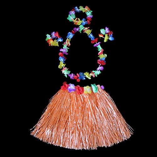 woyada Hawaii - Falda de hierba para danza con elástico y hebilla para flores, decoración de fiestas tropicales para niños y adultos