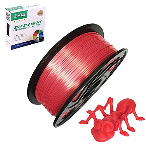 E-DA PLA 3D Printer Filament, PLA Filament 1.75mm 1KG, With High Strength and Better Toughness, 3D Printing Filament for 3D Printers, Dimensional Accuracy +/- 0.03mm, (Silk Red)