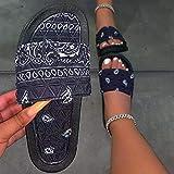 CCJW Sandalias de baño para interiores y exteriores, sandalias de playa de raso con flores negras_41, sandalias para mujer con puntera abierta kshu