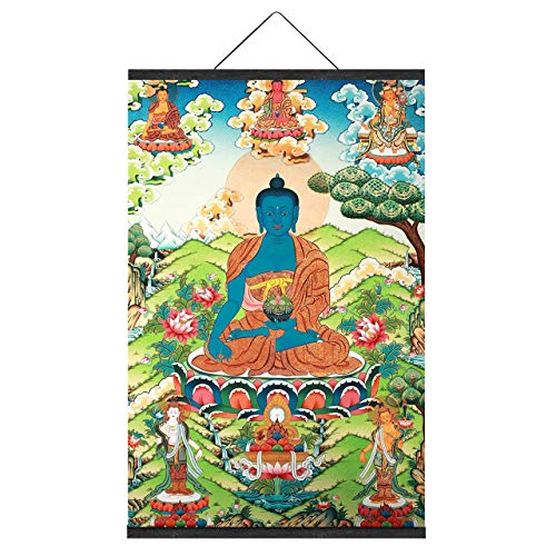 The Medicine Buddha Tibetan Buddhist Thangka Thang-ga Home Office Meditation Feng Shui Yoga Wall Art Decorative Accents Poster Picture Canvas Prints Art with Magnetic Hanger Clip Frame (20 x 30 Inch)