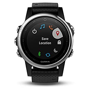 Garmin 42mm Fenix 5S Silver And Black Band GPS Running Watch