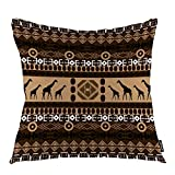 oFloral Giraffe Throw Pillow Covers African Animal Indian Tribal Ethnic Geometric Art Decorative Square Pillow Case 18'X18' Pillowcase Home Decor for for Sofa Bedroom Livingroom